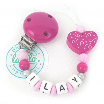 Schnullerkette mit Namen in Pink + Herz Ornament Motivperle